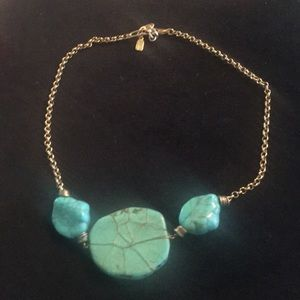 """Turquoise and gold statement necklace 20"""""""